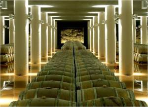 5 natural springs in the aging cellars provide climate control for  3000 barrels