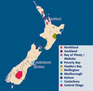 New Zealand North and South Island Wine Regions